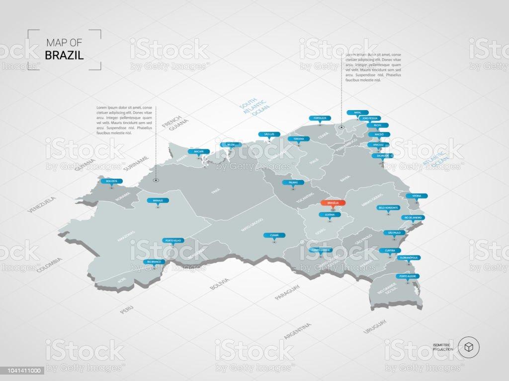 Isométrico mapa do Brasil com nomes de cidades e divisões administrativas. - Vetor de Azul royalty-free