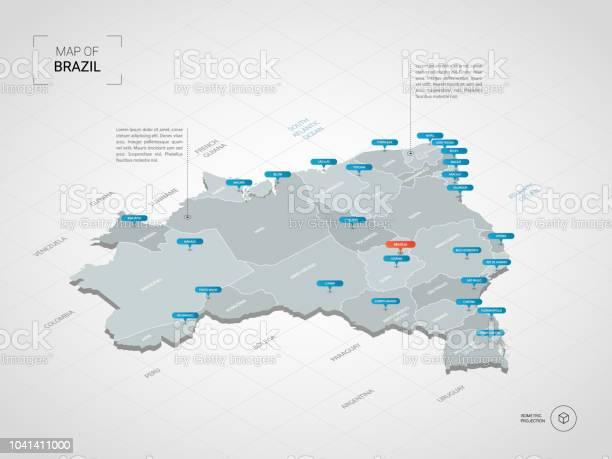 Vetores de Isométrico Mapa Do Brasil Com Nomes De Cidades E Divisões Administrativas e mais imagens de Azul