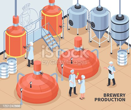 Brewery beer production process isometric composition with personnel controlling hot block and fermentation vats poster vector illustration