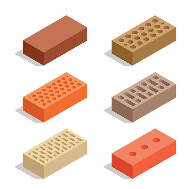 Isometric Bricks isolated on white vector art illustration