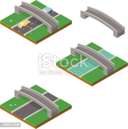 istock Isometric Bridge with Cars and River 455513035