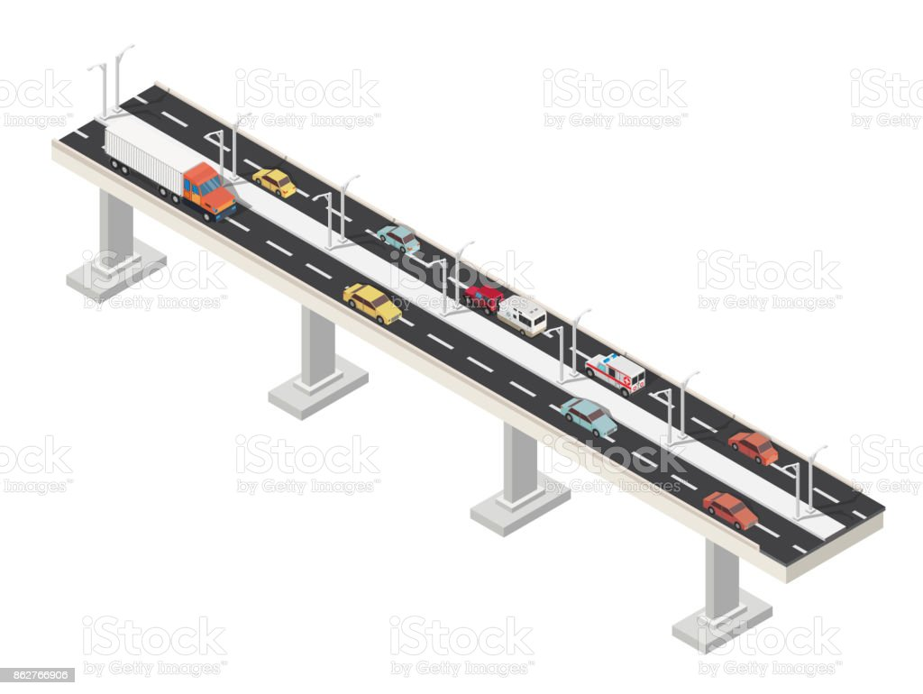 Isometric brigde and city with highways traffic road. vector art illustration