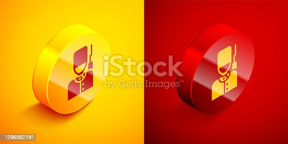 Isometric British guardsman with bearskin hat marching icon isolated on orange and red background. Circle button. Vector.