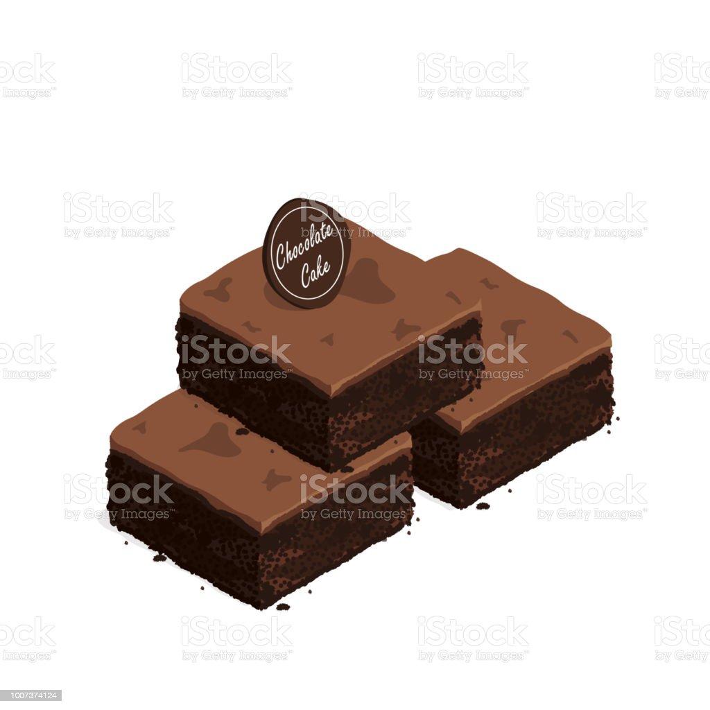 isometric brownie chocolate cake vector vector art illustration