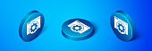Isometric Browser setting icon isolated on blue background. Adjusting, service, maintenance, repair, fixing. Blue circle button. Vector Illustration