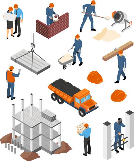 isometrischer Baumeister-Architekten-Beruf-Set – Vektorgrafik