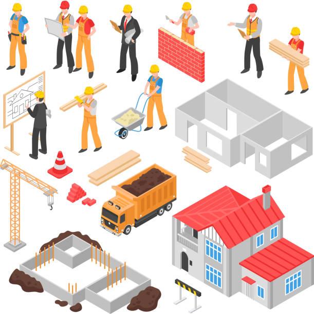 アイソメトリックビルダーエンジニアアーキテクトセット - アイソメトリック点のイラスト素材/クリップアート素材/マンガ素材/アイコン素材