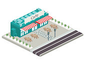 Isometric Building Concept - A small tile with a road and a shop with tables.