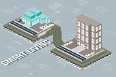 Isometric Building Concept - A tile built from a computer chip with ribbon cord and icon background.