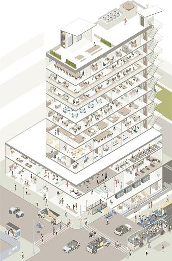 Isometric building cutaway