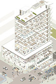Highly detailed illustration of a 10-story commercial building cutaway has its walls removed to show the interior lobby, coffee shop, retail clothing store, bank with ATMs, gym, medical offices, daycare, architecture studio, open floor plan offices, cafeteria, training room, cubicles, and top-floor conference room and offices. Roof details and basement floors are also included, along with cutaway cars, bus, and subway transportation. Dozens of unique people can be seen. Vector illustration presented in isometric view. All representations are fictitious; no specific manufacturers, companies, or people are represented in this illustration.