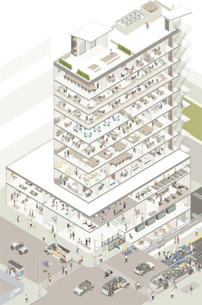 Isometric building cutaway vector art illustration