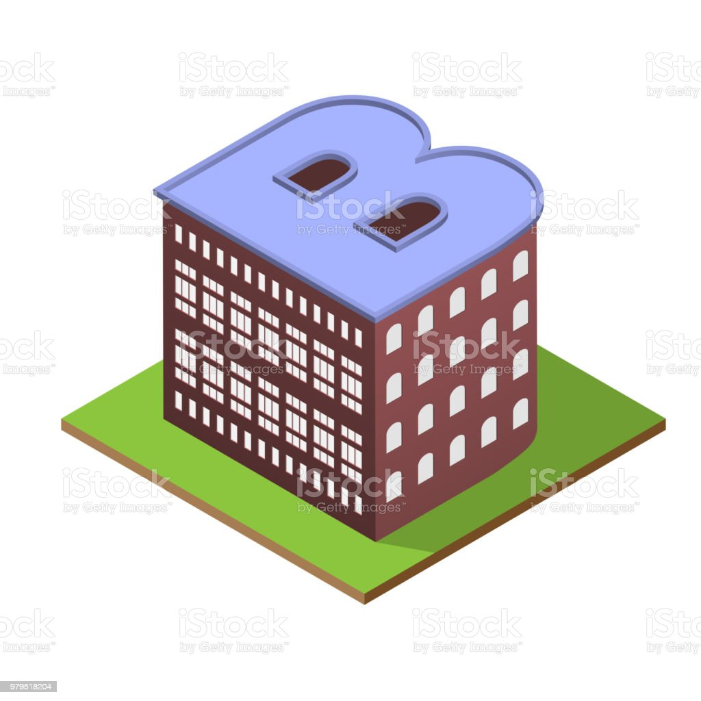 Isometric Building Letter B Form Stock Vector Art & More Images of