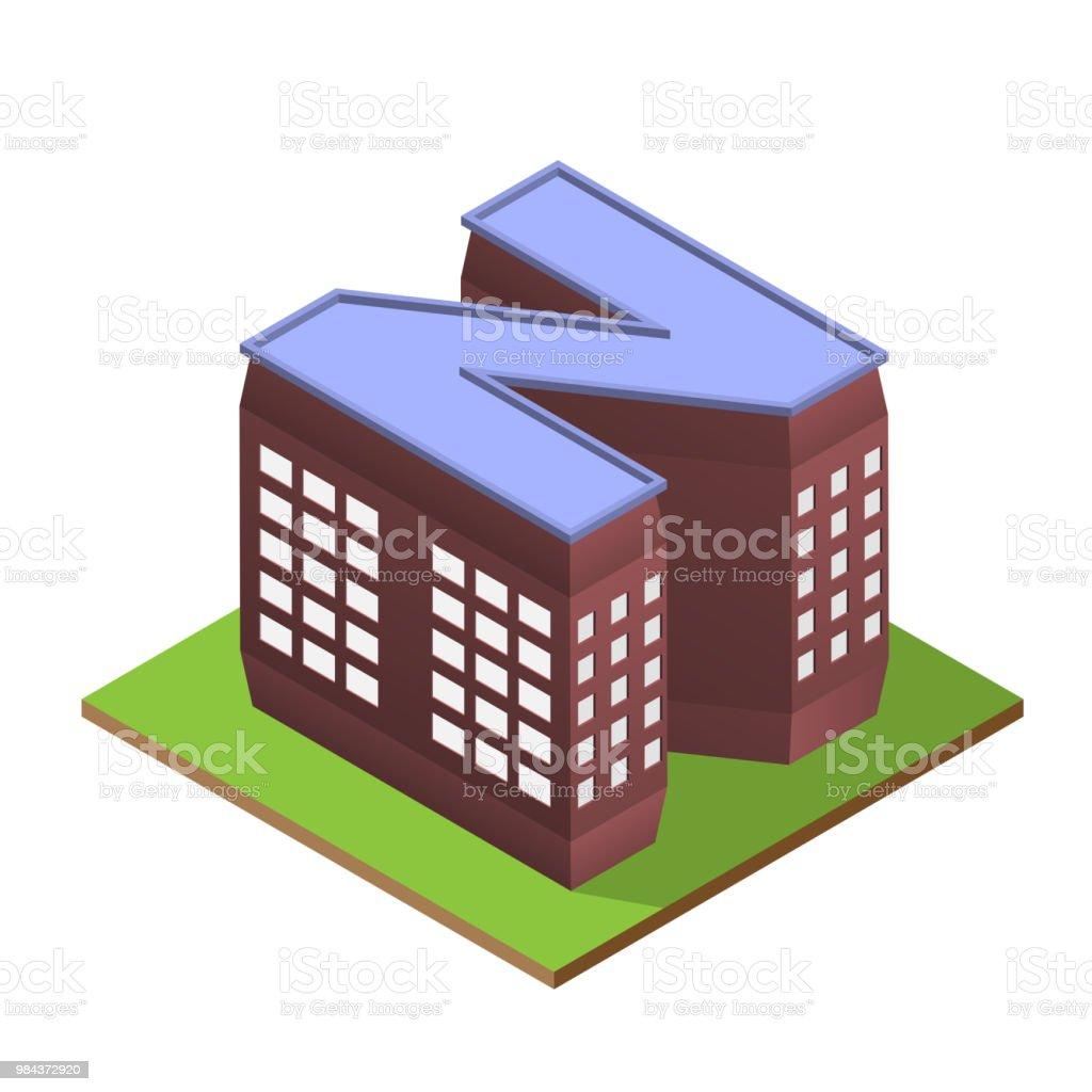 Isometric building letter N form vector art illustration