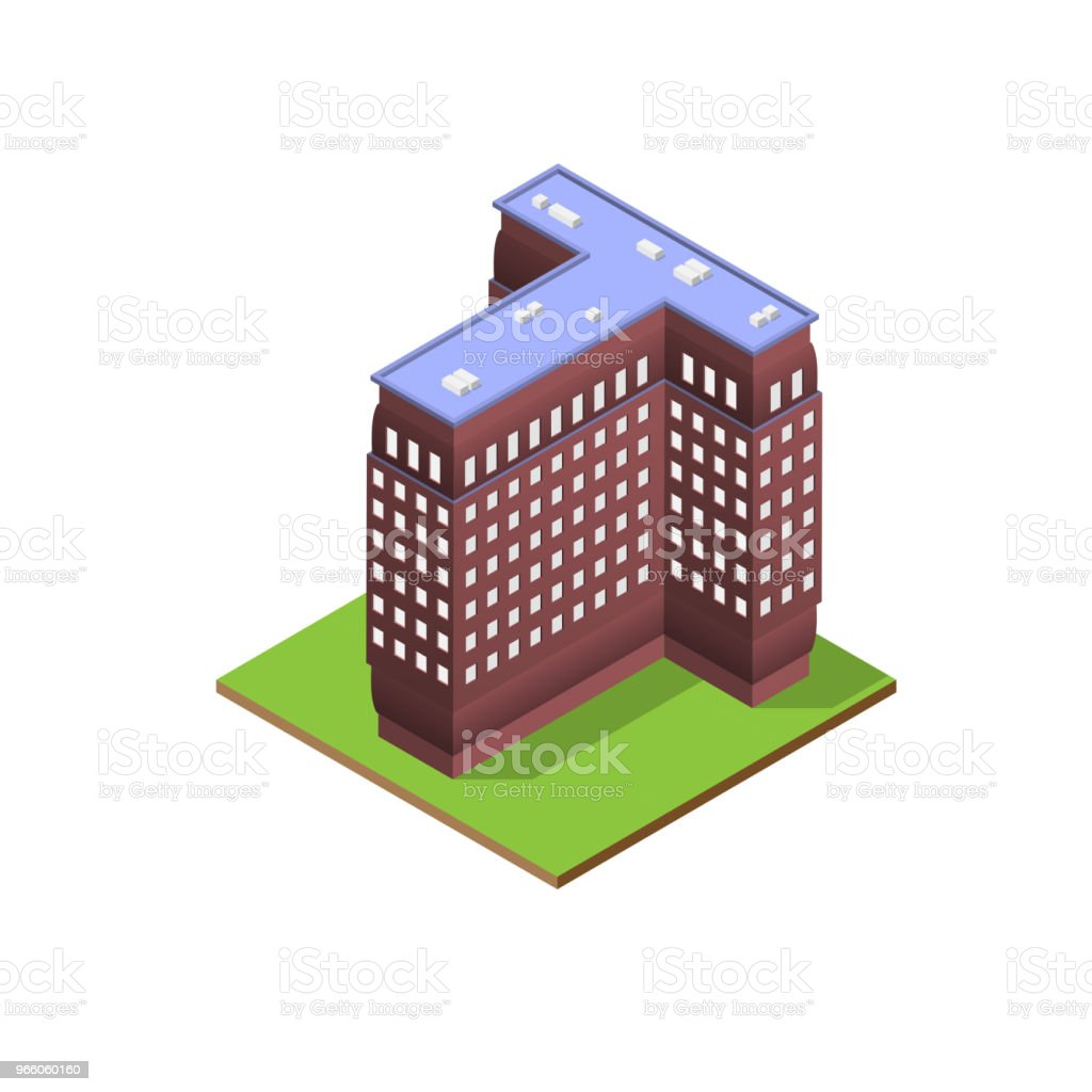 Isometric building letter T form - Royalty-free Alphabet stock vector