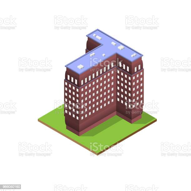 Isometric Building Letter T Form Stock Illustration - Download Image Now