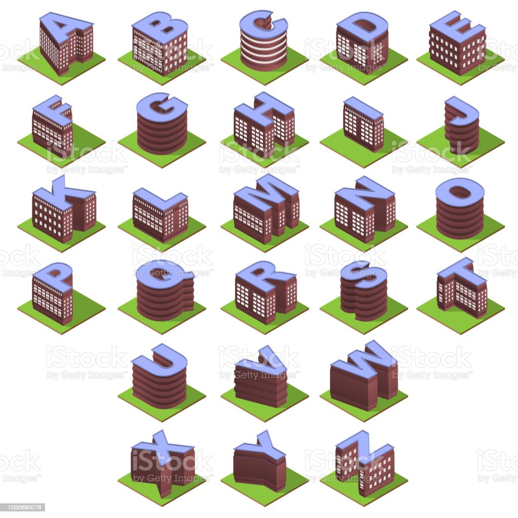 Isometric building letters vector art illustration