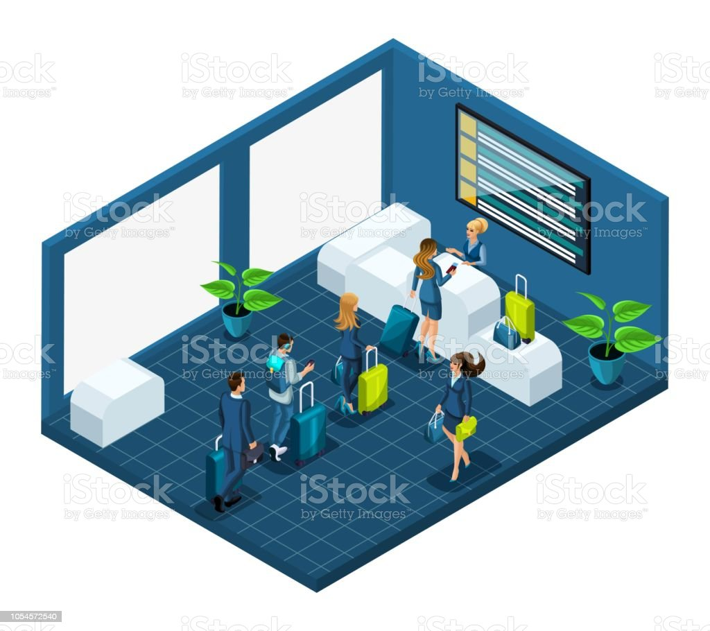 Isometric building of the airport passengers with luggage, pass passport control in a large bright room, vector illustration with emotional characters vector art illustration