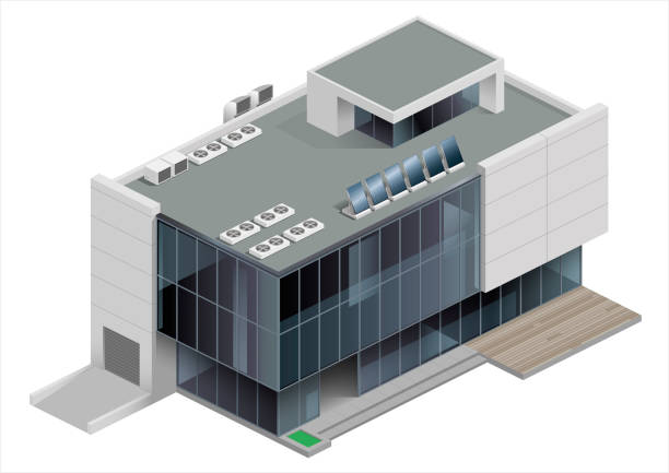 Isometric building shopping Mall Isometry of a shopping Mall, train station or public building. Urban infrastructure. Blank for volumetric schemes showroom stock illustrations