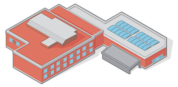 isometric gebäude - gymnasium stock-grafiken, -clipart, -cartoons und -symbole