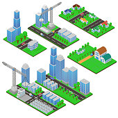 Isometric buildings and building constructions with trees and roads. Public buildings, country houses, living complexes and skyscrapers in 3d in isometric cartoon style