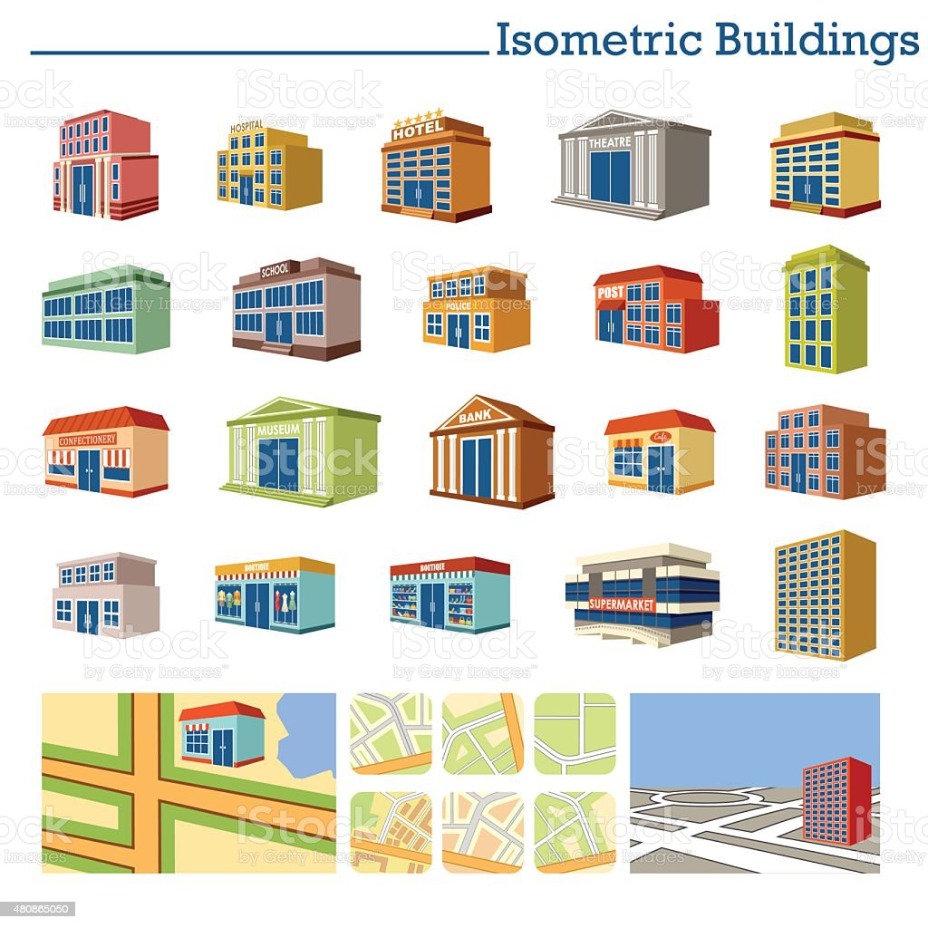 Isometric Buildings and maps. Vector vector art illustration