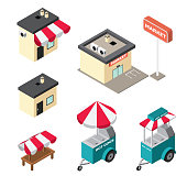 Isometric buildings of market, store, hot dog carts icons set on white background