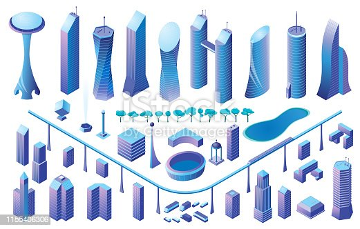 Isometric buildings set. Vector illustration of city with buildings, cars and trees