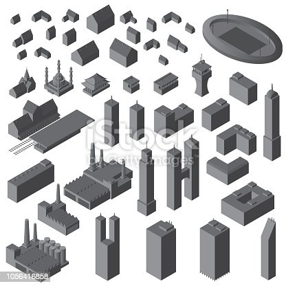 Isometric buildings set. Vector simple buildings set. eps10.