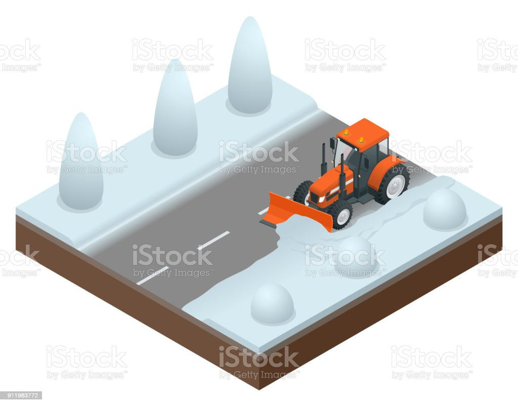 Isometric bulldozer cleans from the road old snow. Vector illustration of snowblower vector art illustration