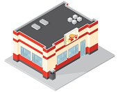 An vector illustration of a isometric burger bar food chain franchise.