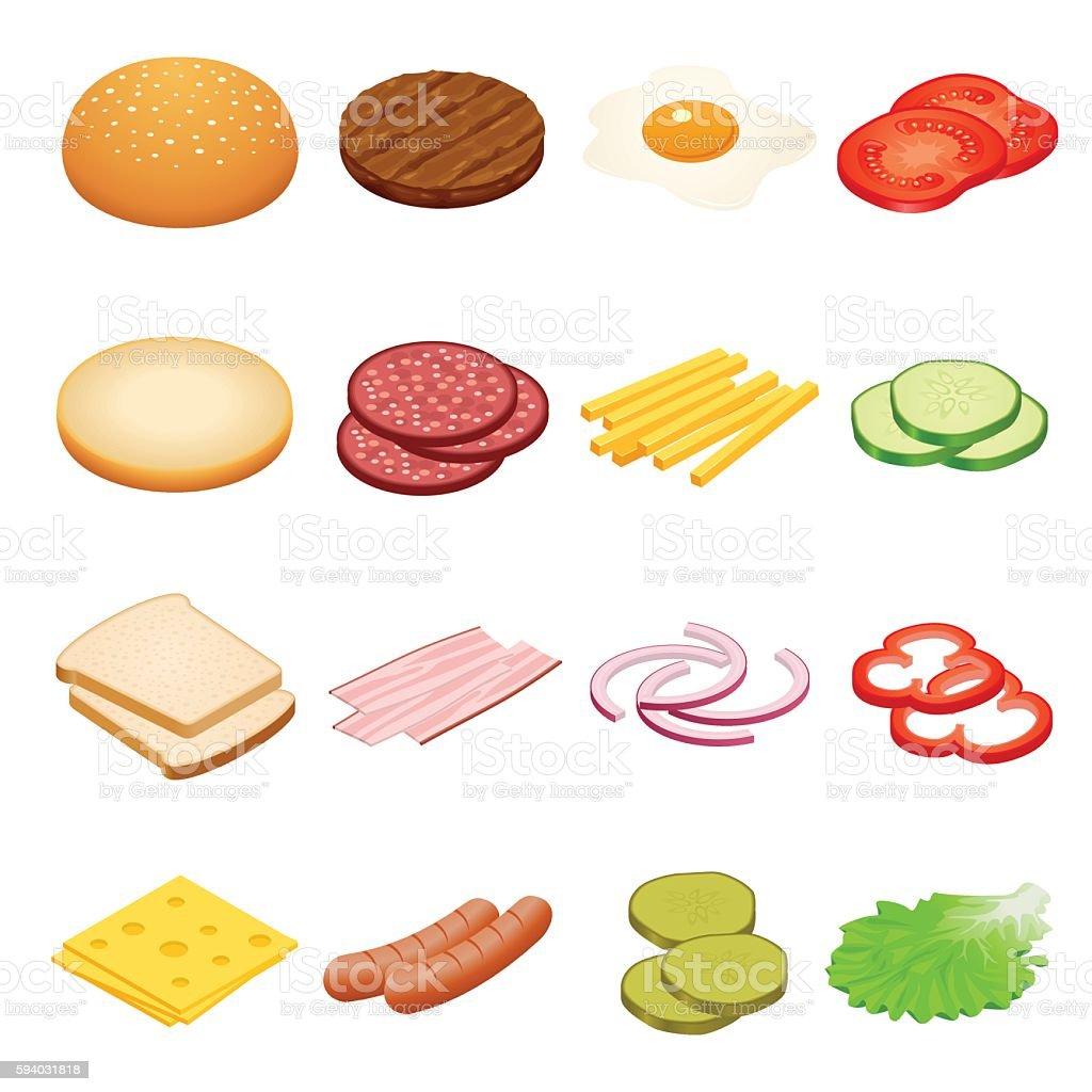 Isometric Burger ingredients set vector art illustration