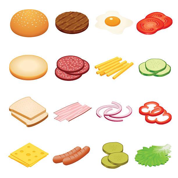 bildbanksillustrationer, clip art samt tecknat material och ikoner med isometric burger ingredients set - cheese sandwich