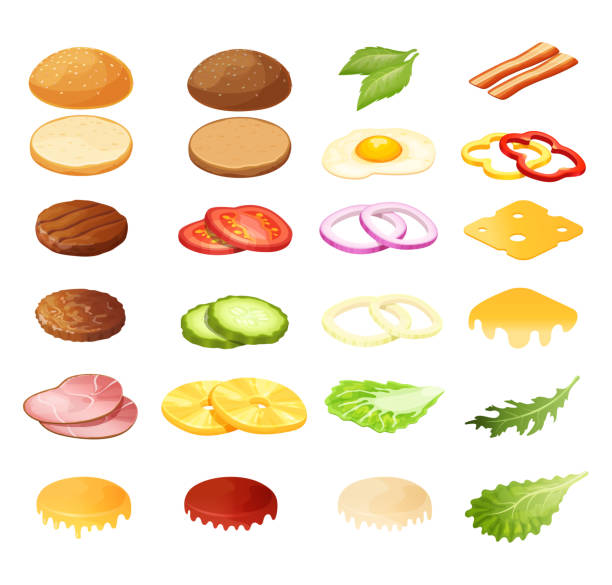 Isometric burger sandwich constructor vector illustration, 3d cartoon menu ingredients for hamburger icon set isolated on white Isometric burger sandwich constructor vector illustration. 3d cartoon food menu ingredients for hamburger, product sandwich maker. Bread, salad, meat and bacon, cheese snack icon set isolated on white pickle slice stock illustrations