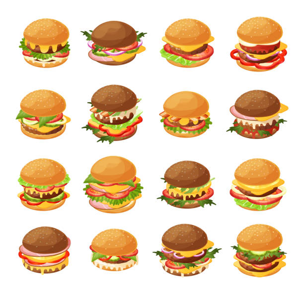 Isometric burger vector illustration set, 3d cartoon fresh different hamburgers for fast food cafe menu icon set isolated on white vector art illustration