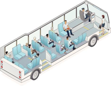 Isometric Bus Cutaway Illustration