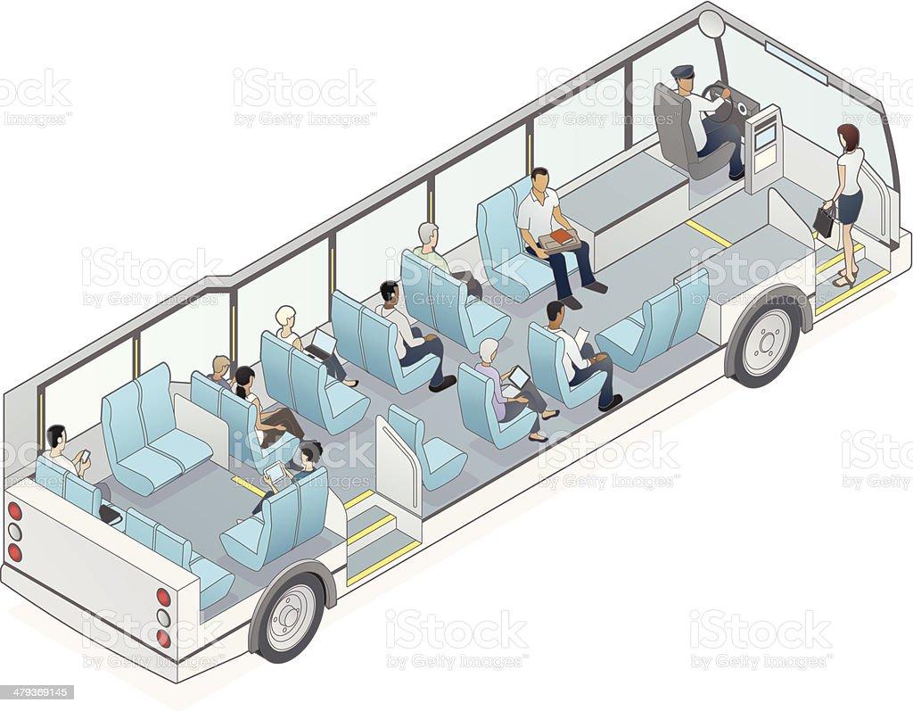 Isometric Bus Cutaway Illustration vector art illustration