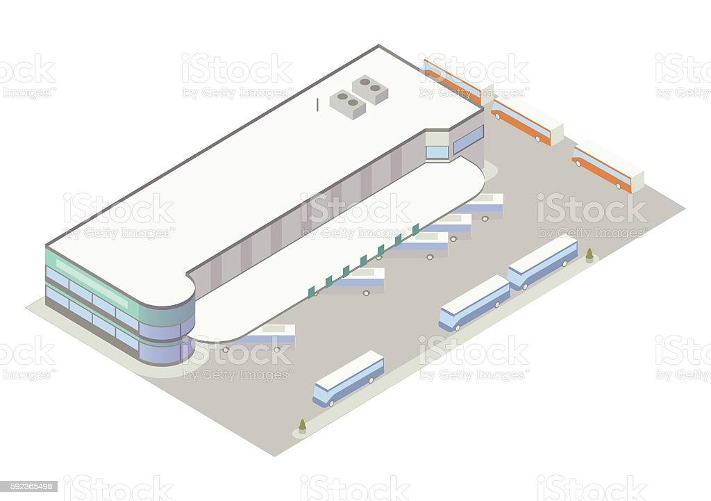 Isometric bus depot illustration vector art illustration