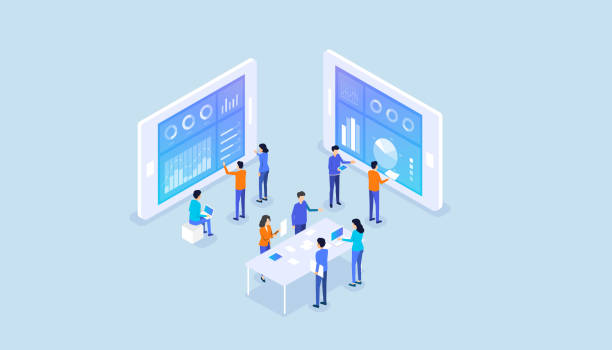 isometrische Wirtschaftsanalytiker team Bericht Graph Dashboard Monitor und Business Team Arbeitstreffen Konzept – Vektorgrafik