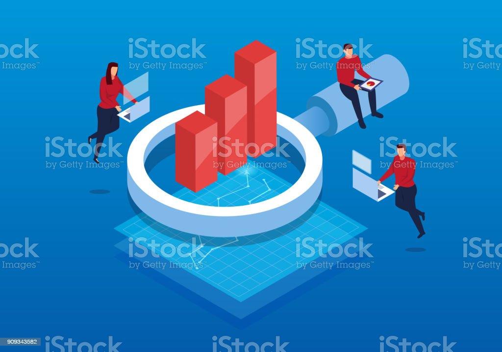 Isometric business and data analysis vector art illustration