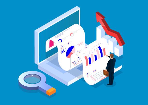 ilustrações, clipart, desenhos animados e ícones de investimento e gestão de análise de dados de negócios isométricos - economia