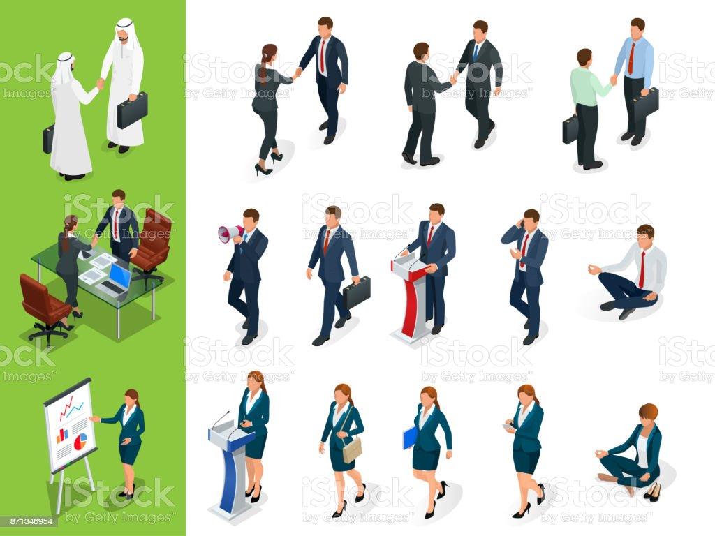 等尺性ビジネスのポーズを文字します。握手。白い背景の Businessmans、Businesswomans、マンのアラブのセットです。漫画の人。ベクトルの独自のデザインを作成します。 ベクターアートイラスト