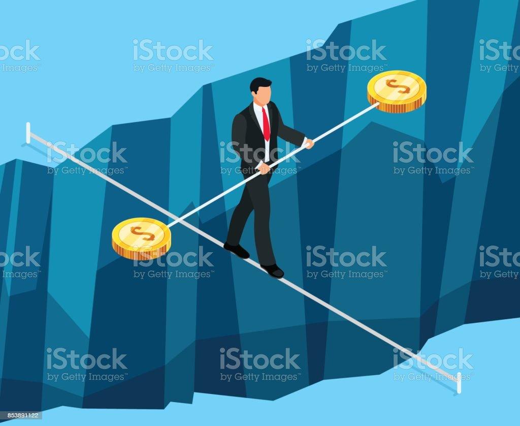 等距業務概念的金融風險。向量藝術插圖