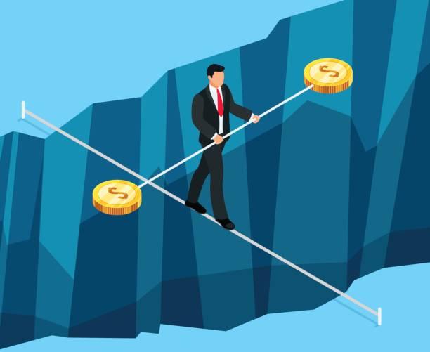 금융 리스크의 아이소메트릭 비즈니스 개념입니다. - 균형 stock illustrations
