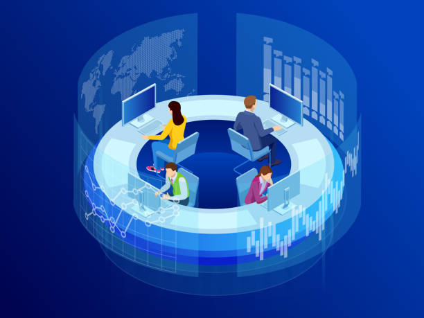 stockillustraties, clipart, cartoons en iconen met isometrische business data analytics proces beheer of intelligentie dashboard op virtueel scherm met sales en operations gegevens statistieken grafieken en prestatie indicatoren concept. - chirurgie