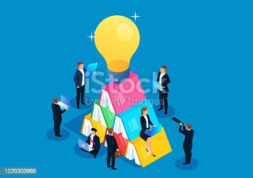 istock Isometric business education and learning, a group of businessmen learning to read next to stacked books and shiny light bulbs 1220303985