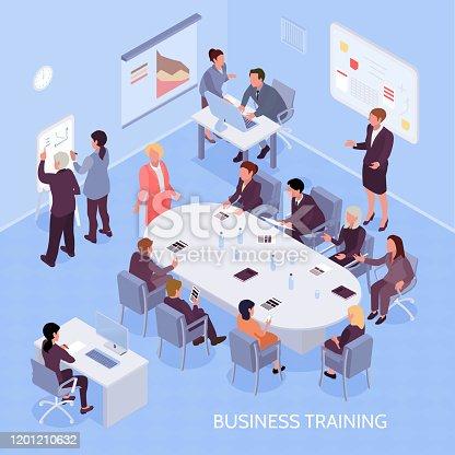 ilustración isométrica de educación empresarial