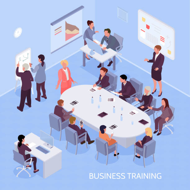 isometrische business education illustration - 20. jahrhundert stock-grafiken, -clipart, -cartoons und -symbole