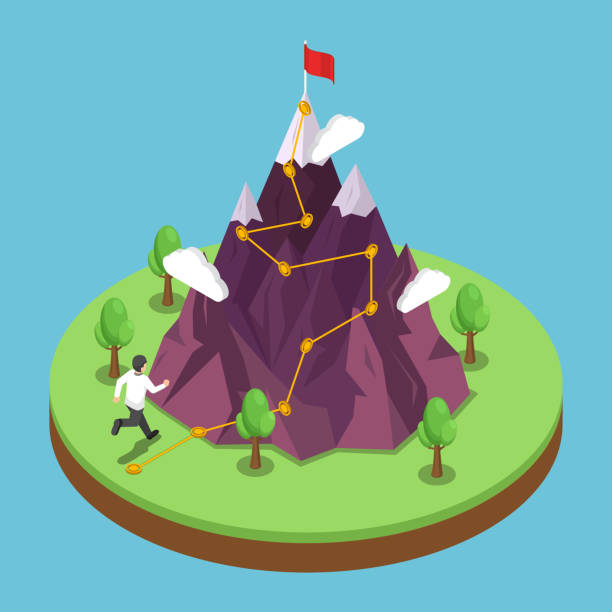 Isometric business journey path to success target on the top of mountain vector art illustration