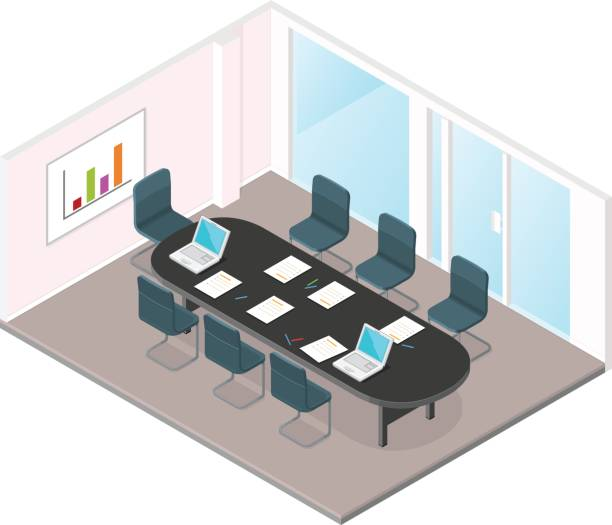 Isometric Business Meeting Room Icon. vector art illustration
